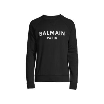 Толстовка с круглым вырезом и принтом логотипа Balmain