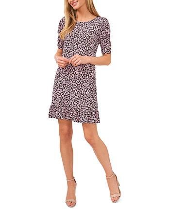 Платье с цветочным принтом и оборками CeCe
