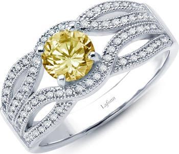 Кольцо из стерлингового серебра с имитацией канареечного бриллианта и имитацией белого бриллианта из стерлингового серебра со скрученной платиной LaFonn