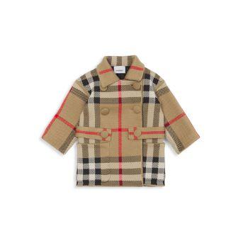 Baby Girl's & amp; Жаккардовое пальто из смесовой шерсти мериноса для маленьких девочек в клетку Burberry