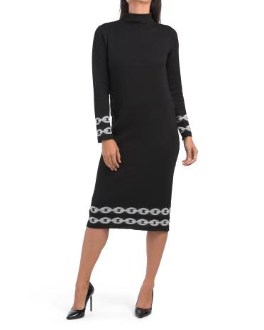 Платье-свитер интарсия с двойной вязкой и цепочкой Nicole Miller New York