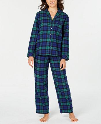 Matching Women's Black Watch Plaid Flannel Pajama Set, созданный для Macy's Family Pajamas