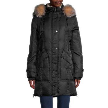 Куртка-парка с пуховым искусственным мехом и капюшоном из лисьего меха 1 MADISON