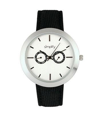 Кварцевые часы с белым циферблатом 6100, черный полиуретановый ремешок с покрытием из холста, 43 мм Simplify