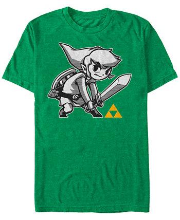 Мужская футболка Legend of Zelda с позой меча с коротким рукавом Nintendo