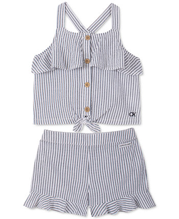 Baby Girls 2-Pc. Seersucker Tank Top & Shorts Set Calvin Klein