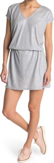Elasticized Drop Waist Sheen Dress FRNCH