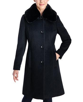Однобортное пальто из искусственного меха с клубным воротником Anne Klein
