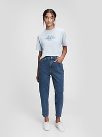 Teen Organic Cotton Sky-High Rise Mom Jeans with Washwell Gap