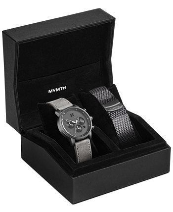 Мужские наручные часы Chrono 40 Monochrome с асфальтовым кожаным ремешком, 40 мм MVMT