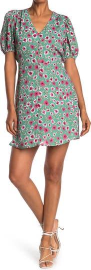 Мини-платье с цветочным принтом и объемными рукавами 19 Cooper