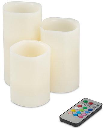 4-шт. Набор беспламенных светодиодных свечей и пульт дистанционного управления с изменяющимся цветом Trademark Global
