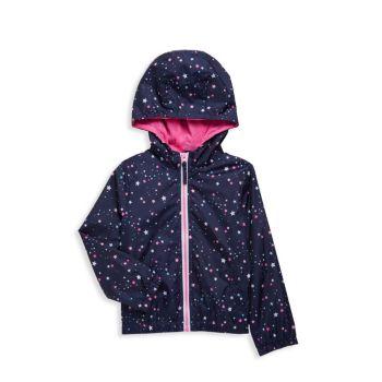 Ветровка с капюшоном и звездным принтом для маленьких девочек Pink Platinum