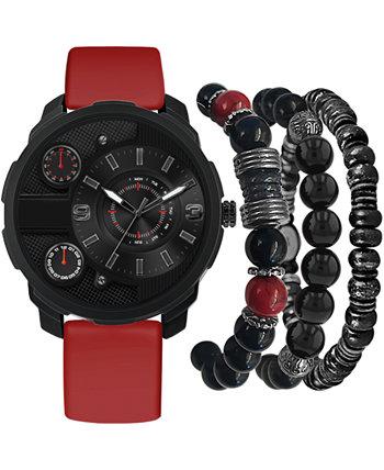 Мужские часы с красным ремешком 46мм Подарочный набор American Exchange