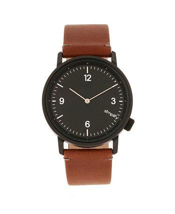 Quartz 5500 черный циферблат, часы из натуральной коричневой кожи 41 мм Simplify