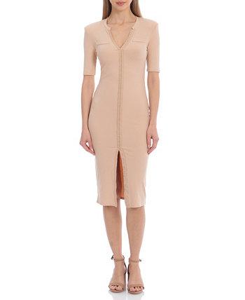 Женское трикотажное платье в рубчик с короткими рукавами в стиле милитари Avec Les Filles