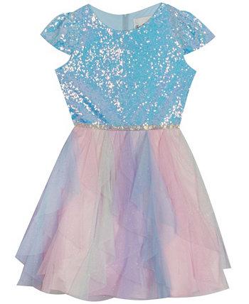 Платье-юбка с блестками и каскадной сеткой для больших девочек Rare Editions