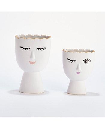 Набор Margaux из 2 ваз включает 2 дизайна: подмигивание и улыбка - фарфор Two's Company