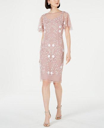 Украшенное платье-футляр с развевающимися рукавами Adrianna Papell