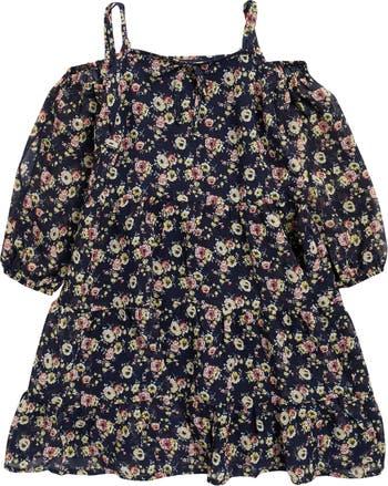 Многоярусное платье с длинными рукавами и открытыми плечами с цветочным принтом AVA AND YELLY