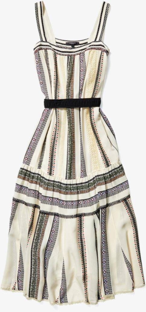 Платье в полоску с кружевной вставкой DEREK LAM