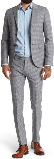 Houndstooth Print Notch Collar Two Button Wool Suit Valentino Uomo