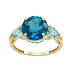 Tiara 10k Gold Blue Topaz and Diamond Ring Tiara