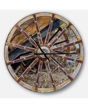 Крупные круглые металлические настенные часы в деревенском стиле Designart Design Art