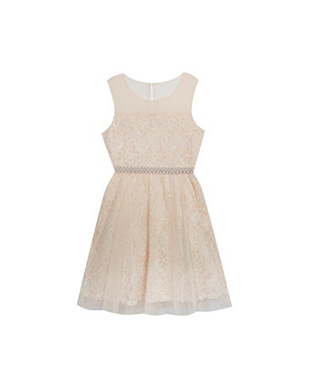 Big Girls Illusion Lace Dress with Pearl Waistband Rare Editions