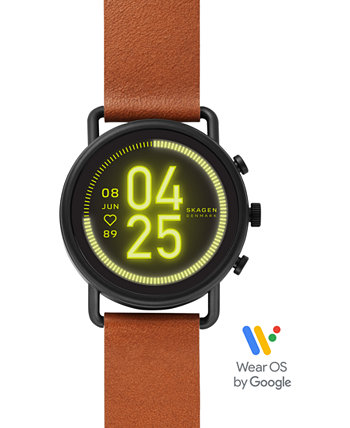 Унисекс Фальстер 3 Коричневый кожаный ремешок с сенсорным экраном Умные часы 43мм Skagen