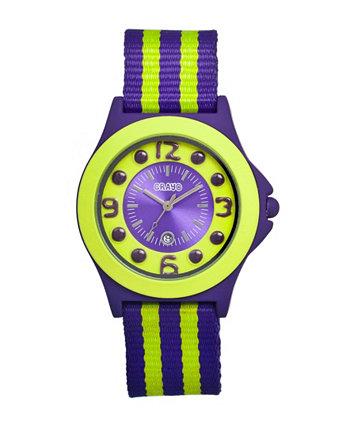 Часы унисекс Carnival Purple, лаймовый нейлоновый ремешок 39 мм Crayo