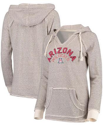 Женский кремовый пуловер с V-образным вырезом в полоску Arizona Wildcats Blue 84