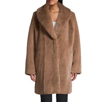 Пальто оверсайз из искусственного меха Donna Karan