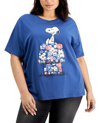 Модная футболка больших размеров с принтом Snoopy с цветочным принтом и домашним рисунком Freeze 24-7