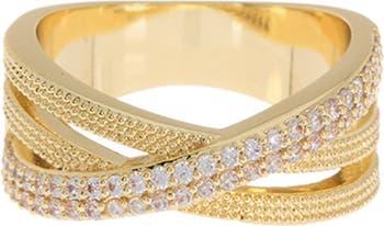 Кольцо с перекрестным ремешком из 14-каратного золота Pave CZ Covet
