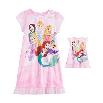 Disney Princess Girls 4-8 Dorm Nightgown & Matching Doll Gown Licensed Character