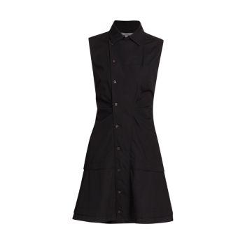 Атласное хлопковое облегающее и расклешенное платье-рубашка DEREK LAM 10 CROSBY