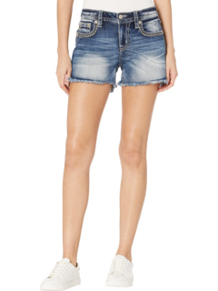 Embroidered Horseshoe Mid-Rise Shorts in Medium Blue Miss Me