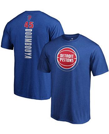 Мужская футболка Sekou Doumbouya Blue Detroit Pistons Playmaker Name and Number Logo Fanatics
