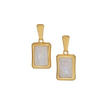 Фирменный багет с покрытием из желтого золота 22 карат и покрытием Серьги-подвески из лунного камня DEAN DAVIDSON