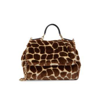Sicily Faux Fur Animal Print Top Handle Bag DOLCE&GABBANA