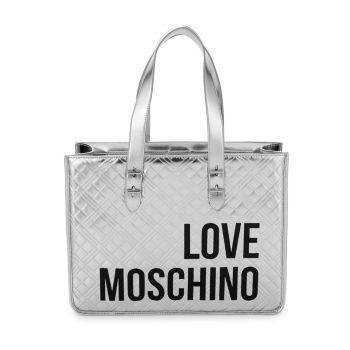 Металлическая стеганая сумка-тоут с логотипом LOVE Moschino