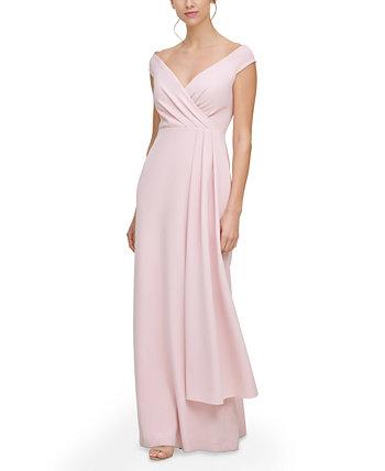 Вечернее платье с открытыми плечами и драпировкой по бокам Eliza J