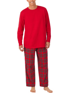 Вязаный топ с фланелевыми штанами, пижамный комплект Lanz of Salzburg