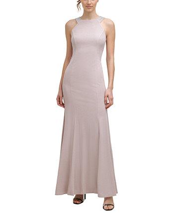 Embellished Metallic Halter Gown Calvin Klein