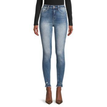 Рваные джинсы скинни с высокой посадкой FLYING MONKEY