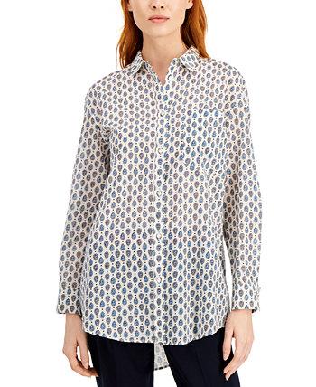 Рубашка с заниженным воротником и принтом Acca из хлопка Marella