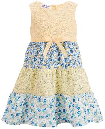 Многоуровневый хлопковый сарафан для маленьких девочек Blueberi Boulevard