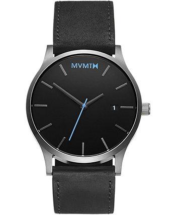 Мужские классические часы с черным кожаным ремешком 45 мм MVMT