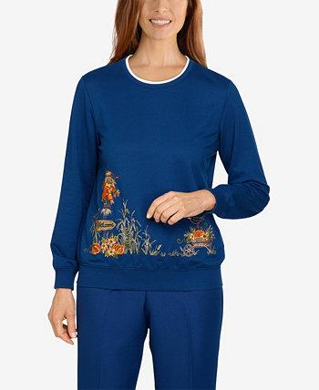 Пуловер с каймой плюс размер Classics Scarecrow Alfred Dunner